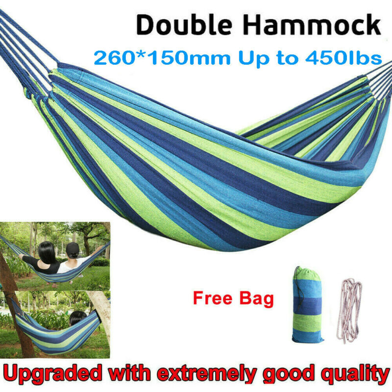 2 person cotton rope camping hanging hammock