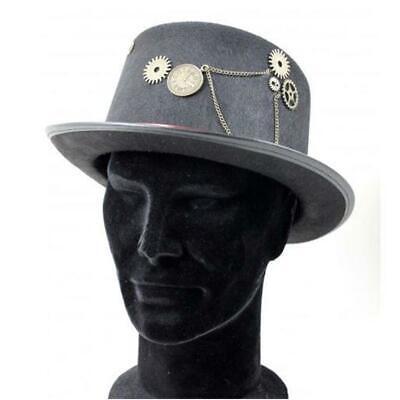 Sombrero Gris Steampunk con Ingranacci Hombre Masculino