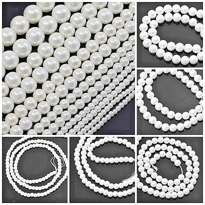 Wholesale White Glass Pearl Round Loose Beads 15