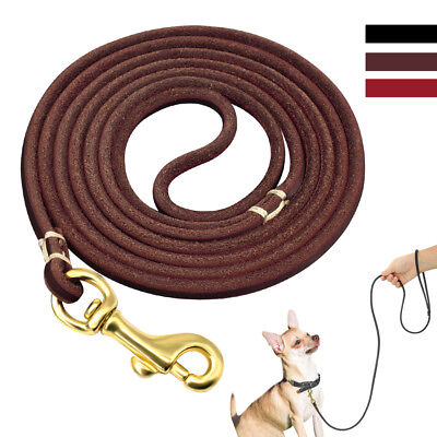 Long Genuine Leather Dog Leash for Small Pet Dogs Training Walking 4ft/6ft (Training Long Walk)