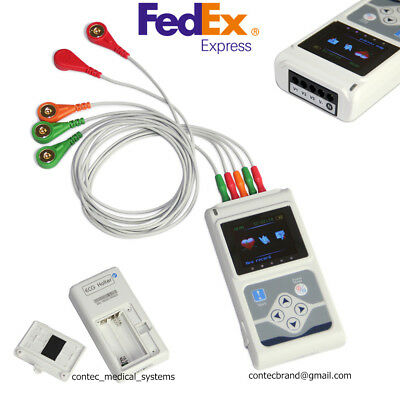 New 24h 3 Channel 12-lead Ecgekg System Holter Monitor Recorder Analyzerpc Sw