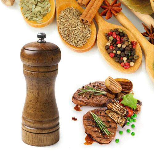 Oak Pepper Grinder Hand Movement Wood Salt Pepper Mill Kitchen Cooking Tool 5in Home & Garden