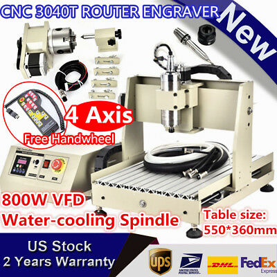 4 Axis Cnc3040t Router Engraver 800w Vfd Engraving Milling Machine Handwheel