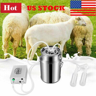 7l Electric Milking Machine Stainless Steel Vacuum Pump Bucket Farm Goat Milker