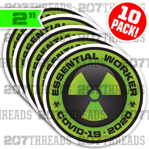 10 PACK Essential Worker Hard Hat Sticker Nuclear Green Toxic Hazard Decals Set