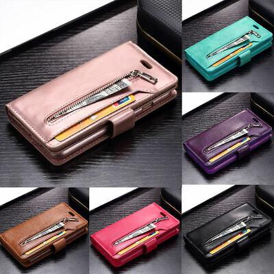 Luxury Leather Zipper Wallet Flip Case Phone Cover For Samsung S9 Plus S10 S8 J6