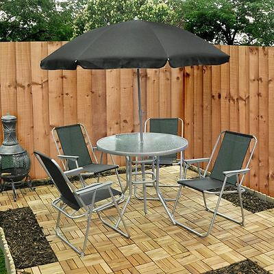 Garden Furniture - Garden Patio Furniture Set 4 Seater Dining Set Parasol Glass Table And Chairs