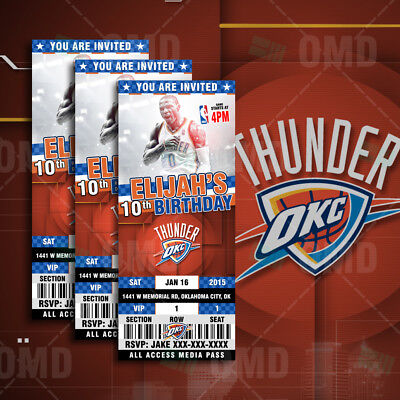Oklahoma City Thunder Ticket Style Sports Party - Party City Invitations
