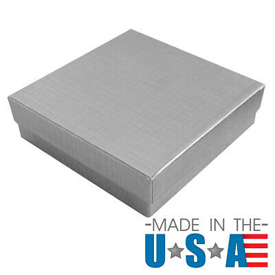 Silver Cotton Filled Gift Boxes Jewelry Cardboard Box Lots of 12~25~50~100~500