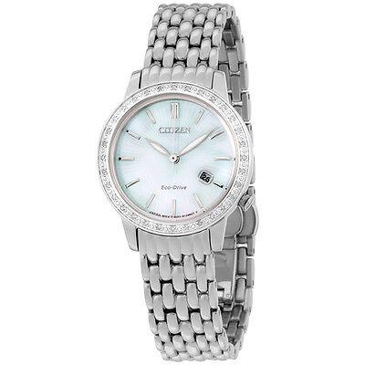 Citizen Eco-Drive Diamond MOP Dial Stainless Steel Ladies Watch EW228058D