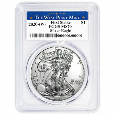 2020 (W) $1 American Silver Eagle PCGS MS70 First Strike West Point Label