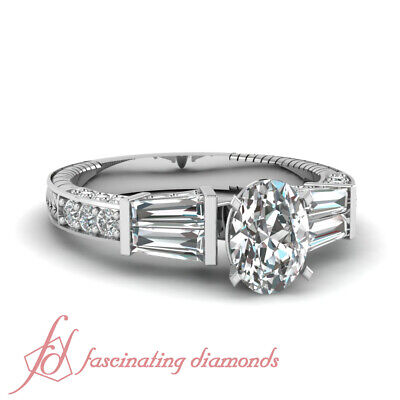 Shimmering Pave Set 1.85 Ct Oval Shaped E-Color Diamond Engagement Ring 14K GIA