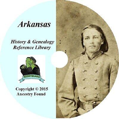 ARKANSAS - History & Genealogy -75 old Books on DVD - Ancestors, County, CD, AR