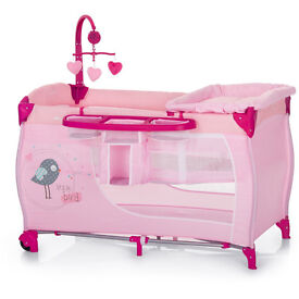 BRAND NEW IN BOX HAUCK DELUXE TRAVEL COT BABY CENTRE IN BIRDIE PINK WITH TWO LEVELS,& CHANGING MAT