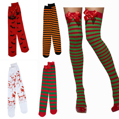 Christmas Thigh High Stockings (Women Thigh High Stockings Colors Rave Halloween Witch Costume Xmas Party)