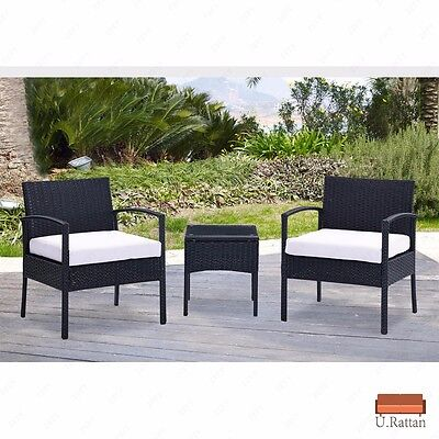 3PC Rattan Wicker Furniture Table & Chair Set Cushioned Patio Outdoor Garden