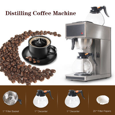 Commercial Stainless Steel Distilling Coffee Maker Machine 2l With 2 Decanter