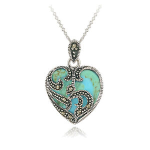 925-Sterling-Silver-Marcasite-amp-Turquoise-Heart-Necklace