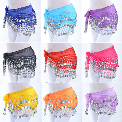 - US FAST Belly Dance Hip Skirt Scarf Wrap Belt Hipscarf with Gold/Silver Coins