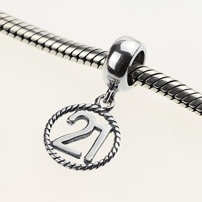 HAPPY 21 21st BIRTHDAY or ANNIVERSARY  925 Sterling Silver European Charm Bead