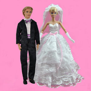 White Layered Wedding Gown Dress + Formal Suit Outfit Set For Barbie Ken Dolls
