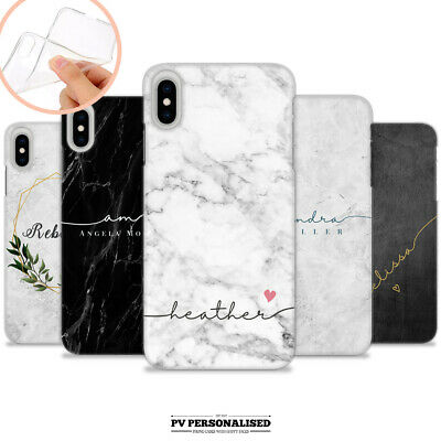 PERSONALISED MARBLE NAME SOFT COVER SILICONE PHONE CASE APPLE IPHONE 7 8 X XR 11