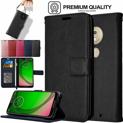 Premium Flip Slim Leather Wallet Case Cover Stand for Motorola Moto G7 Play