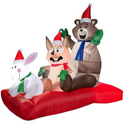 Gemmy Christmas 43 in Animated Woodland Sled Scene Airblown Inflatable NIB