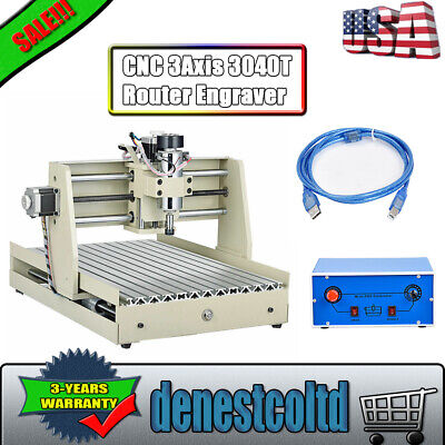 Cnc 3040t Router Engraver Usb 3axis 3d Drilling Cutting Milling Machine 400w Usa