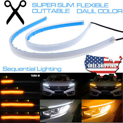 2x 60CM LED DRL Turn Signal Light Strip Amber Sequential Switchback Turn Signal