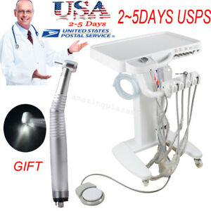Dental Delivery Unit Mobile Cart Work with Compressor Machine Portable warranty