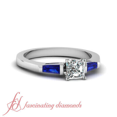 3/4 Carat Princess Diamond And Baguette Sapphire Three Stone Engagement Ring GIA