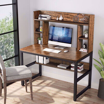 Computer Desk With Hutch Home Office Desk Study Workstation Table Brown Wood Us