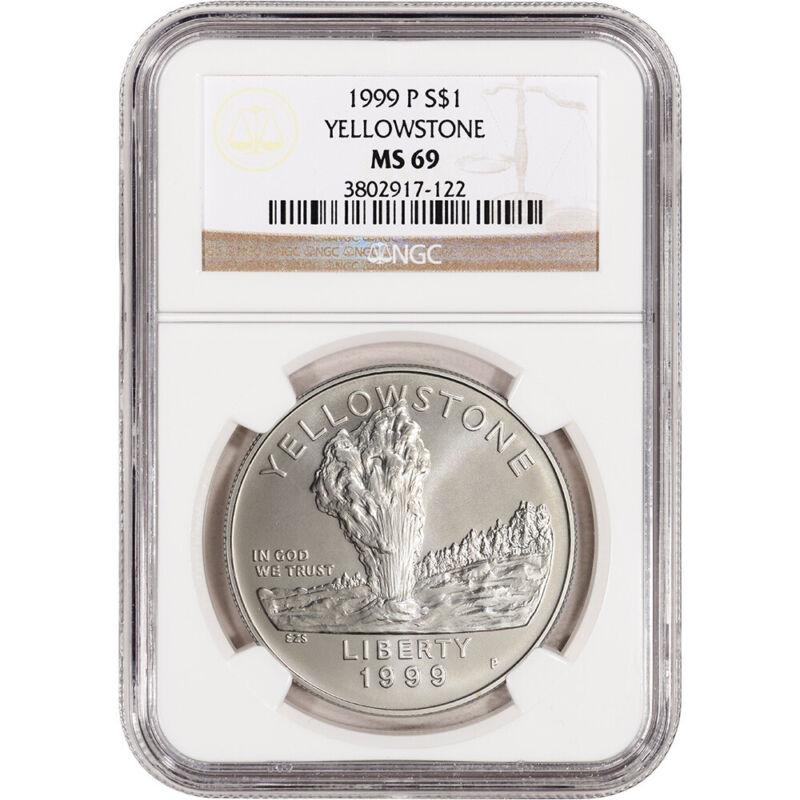 1999-P US Yellowstone National Park Commemorative BU Silver Dollar - NGC MS69