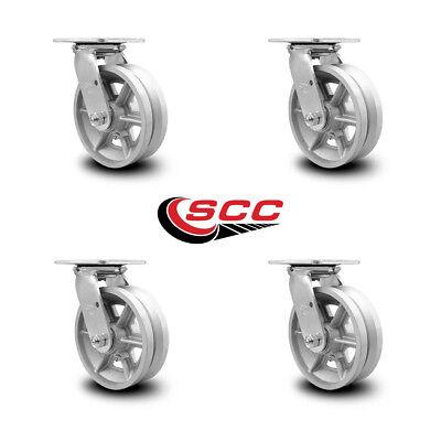 Scc 6 X 2 V Groove Semi Steel Wheel Swivel Casters - Set Of 4