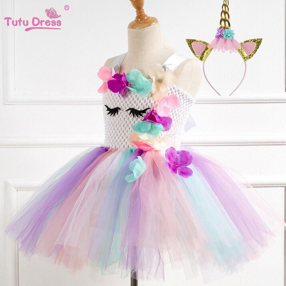 US Stock Flower Girls Unicorn Tutu Dress Princess Girls Birt