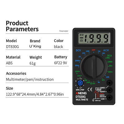 Mini Digital Multimeter Durable Dial High Precision Acdc Resistance Lcd Display