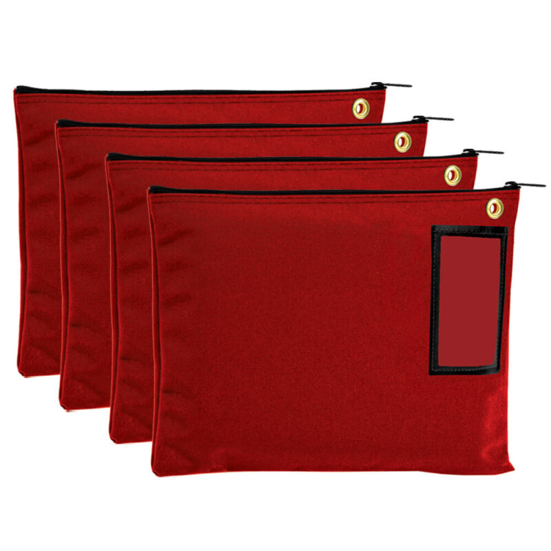 Red Large Canvas Zipper Bags - Interoffice Mail - Transit - set of 4