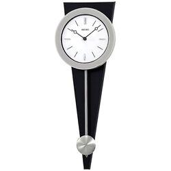 SEIKO Silver Case Pendulum Analog Quartz Wall Clock on Black Wood - QXC111SLH