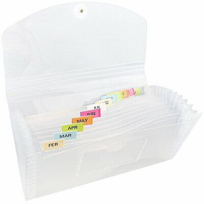 Jam Paper Accordion Folders-13 Pocket Plastic Expanding File - Check Size -clear