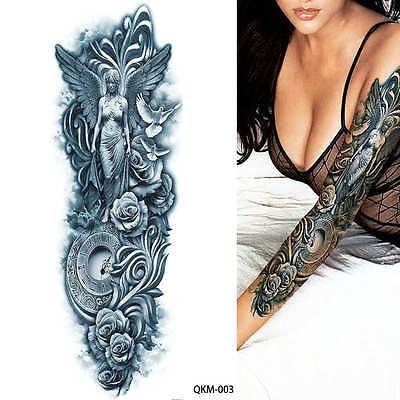 Stammes Engel Rosen Dove Schwarz Kompletter Arm Entfernbar Tattoo Ärmel Sticker