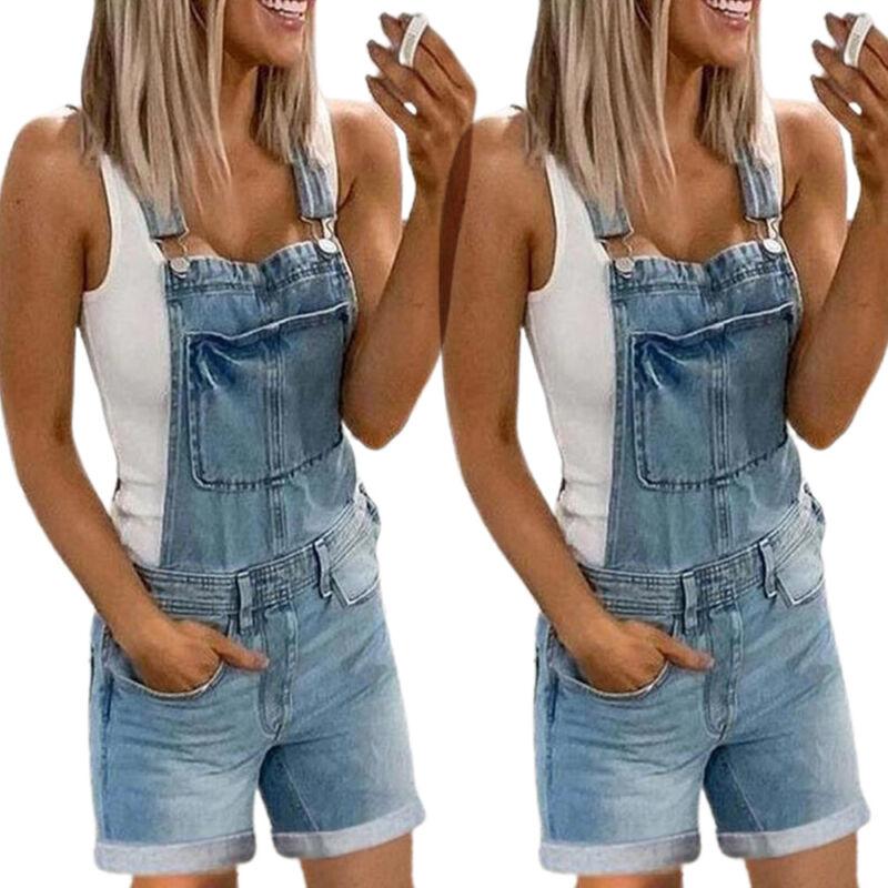Damen Kurz Jeans Hose Overalls Latzhose Latzjeans Playsuit Denim Jumpsuit Sommer