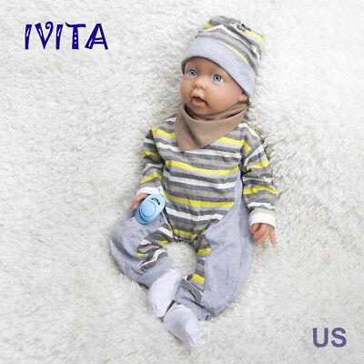 IVITA 20'' Reborn Baby Girl Doll Newborn Lifelike Baby Dolls Full Soft Silicone