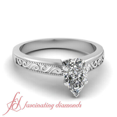 1/2 Carat Pear Shaped Solitaire Platinum Diamond Engagement Rings For Women GIA