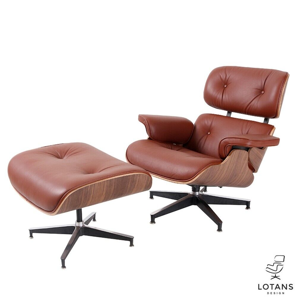 Eames Style Cognac Leather With Walnut Wood Lounge Chair Ottoman By Lotans - $1,080.00