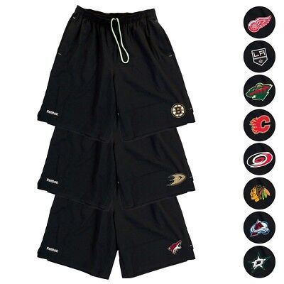 NHL Reebok Center Ice TNT PlayDry Performance Black Team Shorts Collection Men's ()