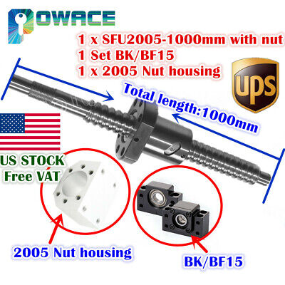Usasfu2005 L1000mm Ballscrew C7 Nutbkbf15 End Supportballnut Housing Cnc