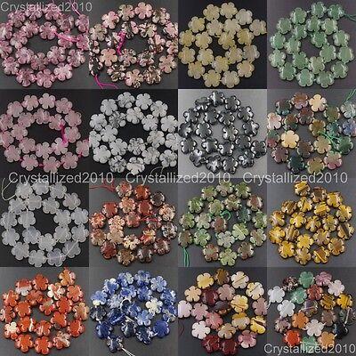 Natural Gemstone Flower Shape Spacer Loose Beads Fluorite Quartz 14mm 20mm 16