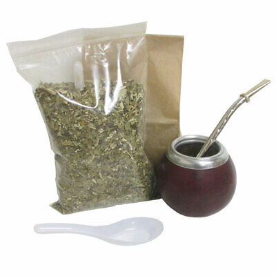 4 Pc Yerba Mate Set Tea Gourd Cup Straw Bombilla 6oz Leaf Bag Kit Pack Argentina