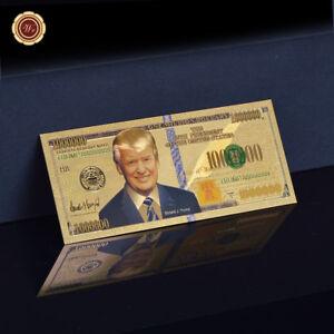 WR President Donald Trump .999 24K USA Gold Plated Million Dollar Bill Banknote